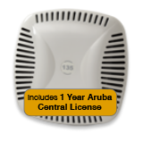 Aruba Networks Instant 134 Wireless Access Point Bundle, 802.11 a/b/g/n, 3x3:3 Dual Radio with 1 Year Aruba Central License