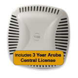 Aruba Networks Instant 134 Wireless Access Point Bundle, 802.11 a/b/g/n, 3x3:3 Dual Radio with 3 Years Aruba Central License