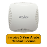 Aruba Networks Instant 204 Wireless Access Point, 802.11 n/ac, 2x2:2 Dual Radio with 5 Year Aruba Central License
