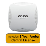 Aruba Networks Instant 215 Wireless Indoor Access Point, 802.11 n/ac, 2x2:2 Dual Radio with 3 Years Aruba Central License