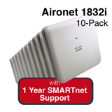 Cisco Aironet 1830 Eco-pack Qty. 10 Configurable Indoor APs w/Int. Antennas Bundle - Includes 1 Yr SMARTnet 8x5 NBD Support