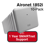 Cisco Aironet 1852i Eco-pack - Qty. 10 Indoor Controller-based 802.11a/g/n/ac AP Bundle - Includes 1 Yr SMARTnet 8x5 NBD Support