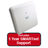 Cisco Aironet 1830 Indoor Dual-band, controller-based 802.11a/g/n/ac, Wave 2 AP Bundle - Includes 1 Yr SMARTnet 8x5 NBD Support