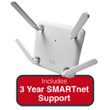 Cisco Aironet 1852e Indoor Controller-based 802.11a/g/n/ac AP w/Ext. Ant. AP Bundle - Includes 3 Yrs SMARTnet 8x5 NBD Support