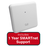 Cisco Aironet 1852i Indoor Dual-band, Controller-based 802.11a/g/n/ac, Wave 2 AP Bundle - Includes 1 Yr SMARTnet 8x5 NBD Support
