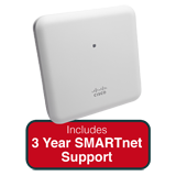 Cisco Aironet 1852i Indoor Dual-band, Controller-based 802.11a/g/n/ac, Wave 2 AP Bundle - Includes 3 Yr SMARTnet 8x5 NBD Support