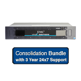 EMC VNXe 3150 Consolidation Solution 15.6TB Bundle - 6x 600GB 15K SAS, 6x 2TB NL SAS, Dual Controller, Base Software, Support