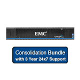 EMC VNXe 3200 Consolidation System 53.1TB Bundle - Combination of FAST Cache & VP, Performance & NL SAS Drives, Dual Controllers