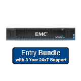 EMC VNXe 3200 Entry System 3.6TB Bundle - 6x 600Gb 10K SAS, Dual Controller, Base Software, 3 Year 24x7 Support