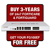 Fortinet FortiGate-100EF / FG-100EF Next Gen Firewall Appliance FREE with Purchase of 3 Year 24x7 Forticare and FortiGuard