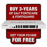 Fortinet FortiGate-100E / FG-100E Next Generation Firewall Appliance FREE with Purchase of 3 Year 24x7 Forticare and FortiGuard