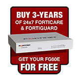 Fortinet FortiGate-60E / FG-60E FREE Firewall Appliance with Purchase of 3 Year 24x7 Forticare and FortiGuard UTM Bundle
