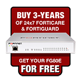 Fortinet FortiGate-80E / FG-80E Next Generation Firewall Appliance FREE with Purchase of 3 Year 24x7 Forticare + FortiGuard