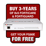 Fortinet FortiGate-80E / FG-80E Next Generation Firewall Appliance FREE with Purchase of 3 Year 8x5 Forticare + FortiGuard