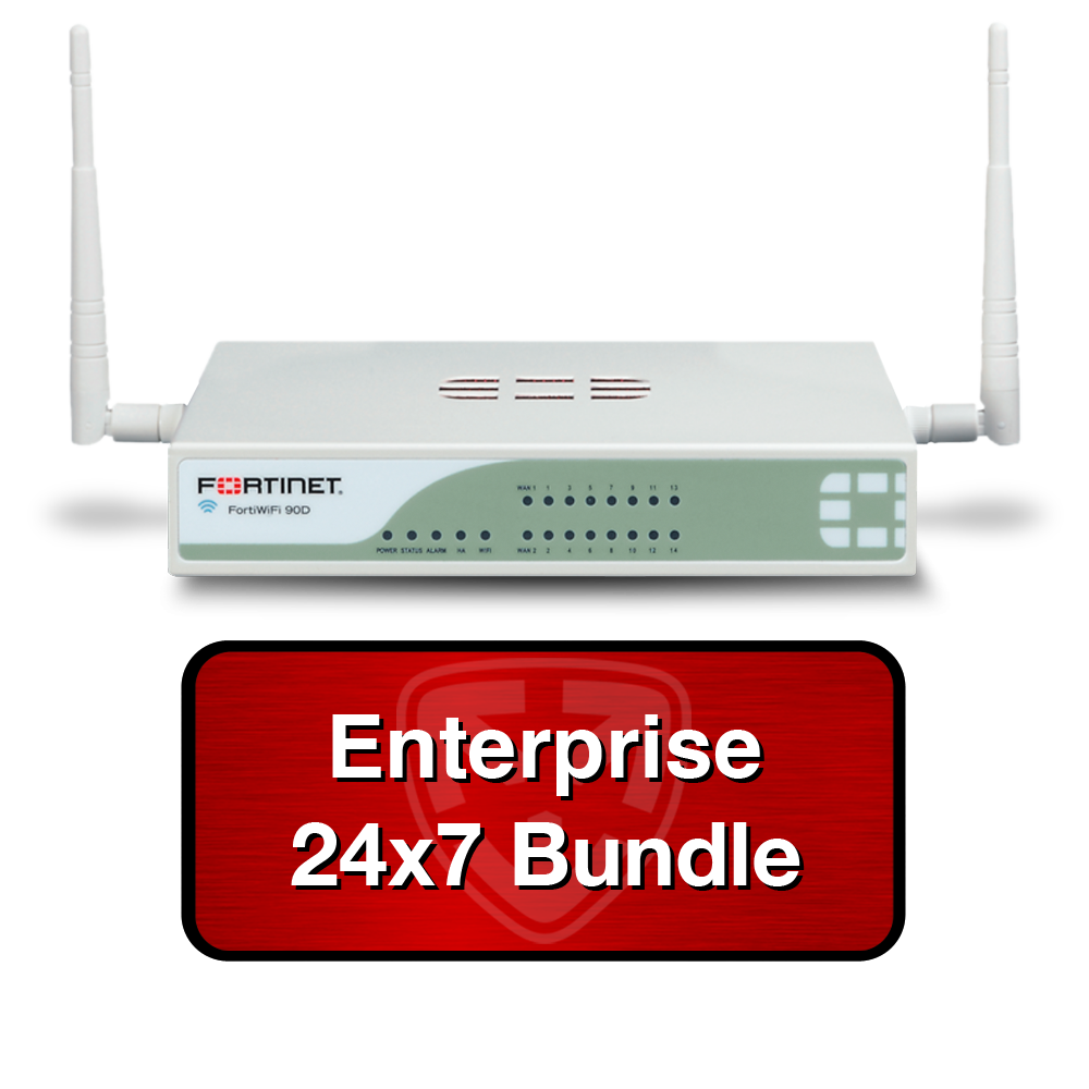Fortinet FortiWiFi 90D-POE / FWF-90D-POE Next Gen Firewall Wireless UTM Bundle w/1 Year 24x7 Enterprise FortiCare + FortiGuard