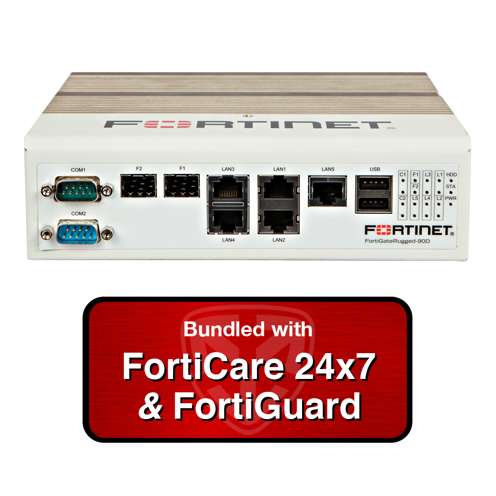 Fortinet FortiGate Rugged 90D / FGR-90D NGFW UTM Appliance Bundle with 1 Year 24x7 Forticare and FortiGuard