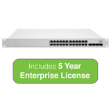 Cisco Meraki Cloud Managed MS225 Series 24 Port PoE Gigabit Switch - 24x 1GbE Ports - Includes 5 Years Enterprise License