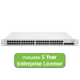 Cisco Meraki Cloud Managed MS320 Series 48 Port Gigabit Switch Bundle - 48x 1GbE Ports - Includes 5 Years Enterprise License