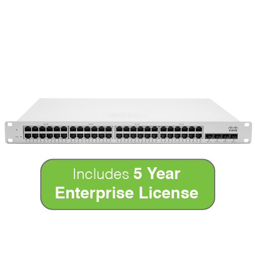 Cisco Meraki Cloud Managed MS320 Series 48-Port Gigabit PoE Switch Bundle - 48x 1GbE Ports - Includes 5 Years Enterprise License
