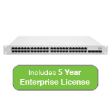Cisco Meraki Cloud Managed MS350 Series 48 Port Gigabit Switch with 5 Years Enterprise License & Support