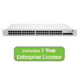 Meraki Cloud Managed MS42 48-Port Gigabit Switch Bundle - 48x 1GbE Ports, 4x 10G (SFP+) - Includes 1 Year Enterprise License