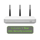 Meraki MX60W Wireless Security Appliance Advanced Bundle, 100Mbps FW, 5xGbE Ports - Includes 1 Year Advanced Security License