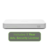 Cisco Meraki MX60 Security Appliance Advanced Bundle, 100Mbps FW, 5xGbE Ports - Includes 1 Year Advanced Security License