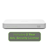 Cisco Meraki MX60 Security Appliance Advanced Bundle, 100Mbps FW, 5xGbE Ports - Includes 5 Years Advanced Security License