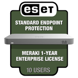 Cisco Meraki MX64 Security Appliance Bundle - Incl. 1 Yr Enterprise License + Qty. 10 ESET Endpoint Protection Standard Licenses