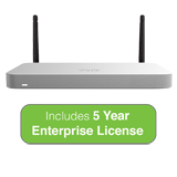 Cisco Meraki MX65W Small Branch Wireless Appliance, 250Mbps FW, 12xGbE Ports - Includes 5 Years Enterprise License