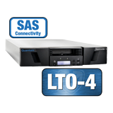 Quantum SuperLoader 3, one LTO-4HH tape drive, Model C, 16 slots, 3Gb/s SAS, rackmount, barcode reader