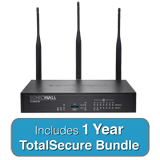 SonicWALL TZ400W TotalSecure Bundle - Includes TZ 400W Wireless Firewall & 1 Year Comprehensive Gateway Security Suite