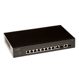 Aerohive SR2208P 8 Port Gigabit Ethernet Switch with POE+, 2 x GE dual media uplinks, 124W POE budget, Layer 2, Static routing