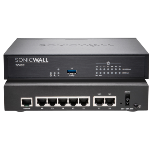 SonicWALL TZ400 UTM Firewall Appliance – 4x800MHz cores, 7x1GbE interfaces, 1GB RAM, 64MB Flash (Hardware Only)