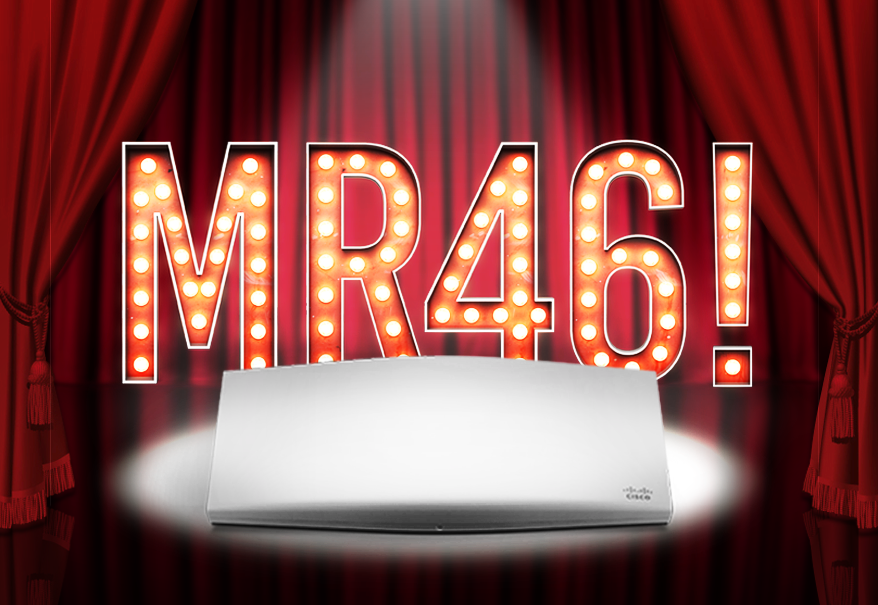 Meraki MR46 802.11ax access point spot lit on a stage