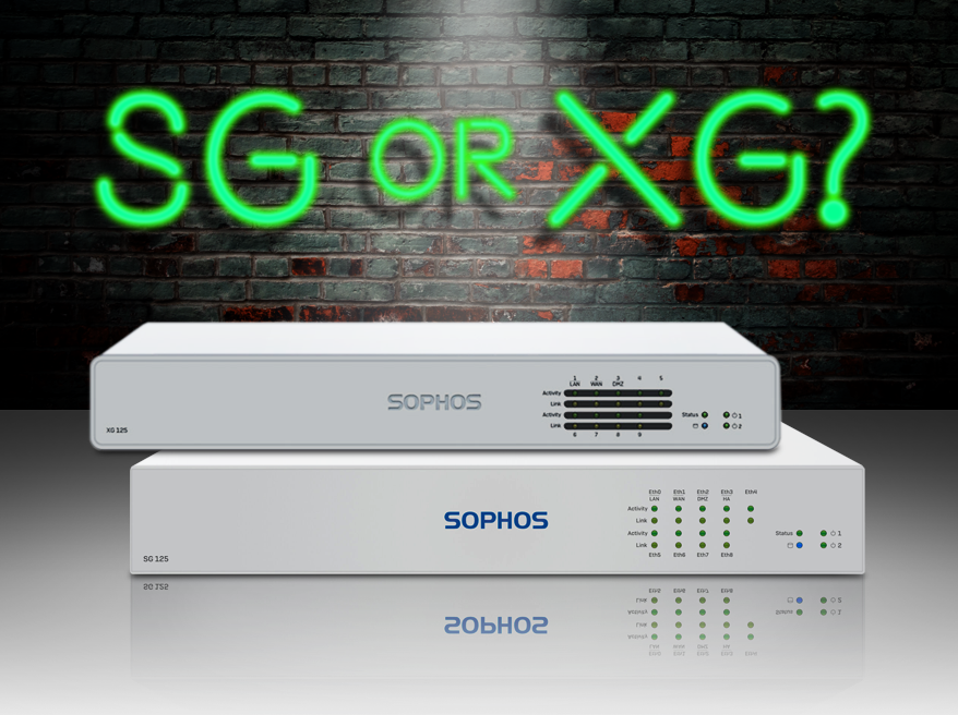 Image of Sophos XG 125 and SG 125 firewalls stacked