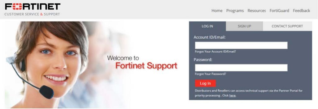 FortiGate support portal login